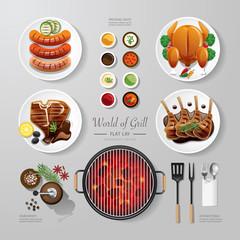 Infographic food grill,bbq,roast,steak flat lay idea. Vector ill