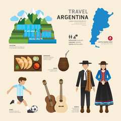 Travel Concept Argentina Landmark Flat Icons Design .Vector Illu