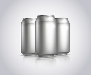Three Metal cans composition. Vector illustration of cold drink