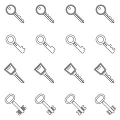Key icons set in thin line style