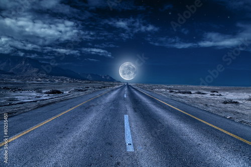 road under the moon