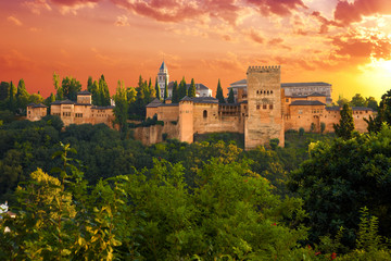 Alhambra de Granada. Exterior view of Nasrid Palaces at sunset