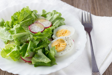 Green salad with radish and hard-boiled egg on white plate