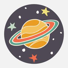 Doodle planet. Cartoon Saturn.