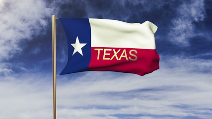 texas flag with title waving in the wind. Looping sun rises