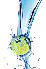 Lime with water splash