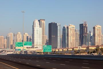 Highway at Jumeirah Lake Towers in Dubai, UAE