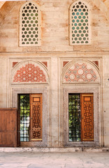 Old  wooden doors at the Sehzade mosque in istanbul, Turkey.