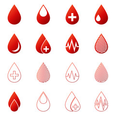 Blood drop icons vector set