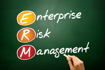 Enterprise Risk Management (ERM) business acronym on blackboard