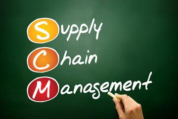 Supply Chain Management (SCM) business acronym on blackboard