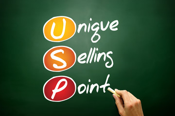 Unique Selling Point (USP), business acronym on blackboard
