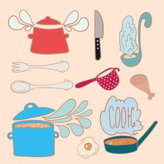 Set of kitchen doodles
