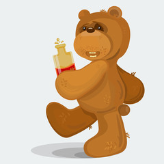Teddy bear walking with bottle of scotch in his hands