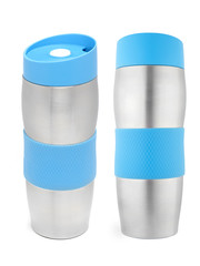 two projections of the metal thermos on a white background