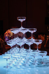 Pyramid of champagne glass in wedding ceremony