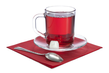 glass cup with red tea