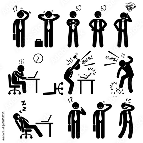 Businessman Business Man Stress Pressure Workplace Cliparts - 80258035