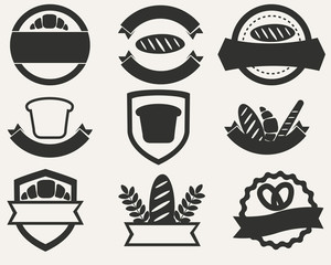 Vintage set of logos of bread and bakery