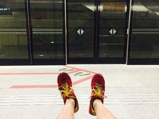 waiting for subway train