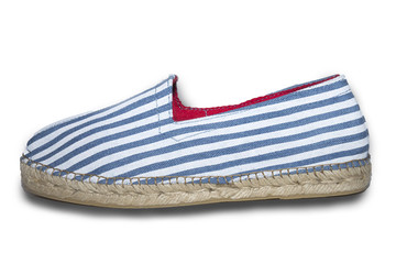 Zapato perfil blanco rayas azules