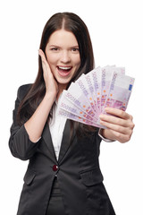 Excited woman giving euro money