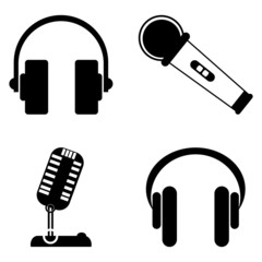 Vintage Microphone and Headphones icons