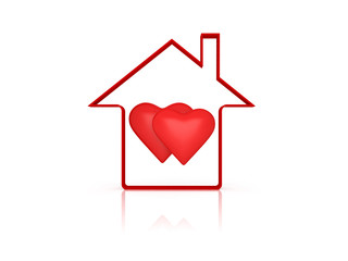 3d Home with Heart Symbol