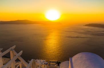 Sunset overlooking caldera, Imerovigli, Santorini island, Greece