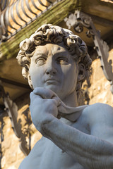 Statue of David in Florence with contrast light