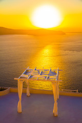 Wedding venue, sunset, Imerovigli, Santorini island, Greece