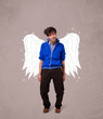 Cute man with angel illustrated wings
