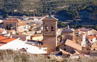 Belltower  in spanish town. Chinchilla