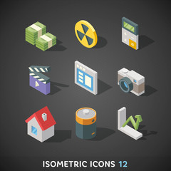 Flat Isometric Icons Set 12