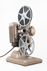 Angled view of Vintage 8 mm Movie Projector with Film Reels.