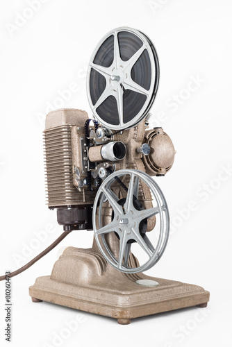 Aluminium Retro Angled view of Vintage 8 mm Movie Projector with Film Reels.