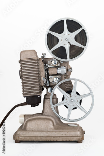 Deurstickers Retro Side view of Vintage 8 mm Movie Projector with Film Reels.
