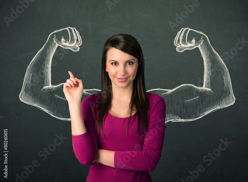 woman with sketched strong and muscled arms - 80260615