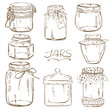 Set of isolated mason jars
