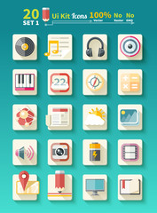Set of icons music for app