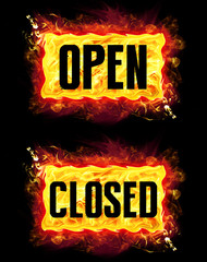Open Closed Fire Banners