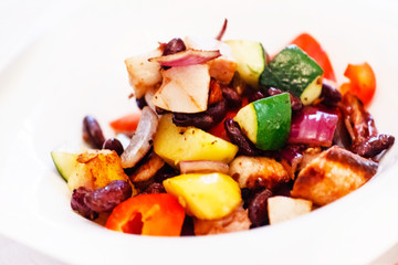 grilled vegetables with meat