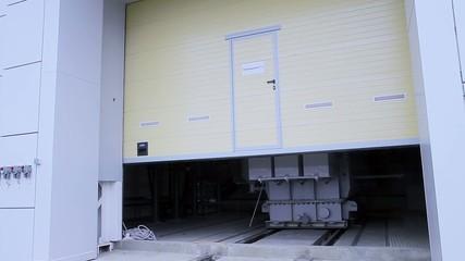 Power transformer inside an electrical substation building