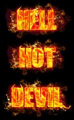 Fire Text Hell Hot Devil
