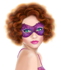 beautiful retro  woman   masquerade carnival mask at party