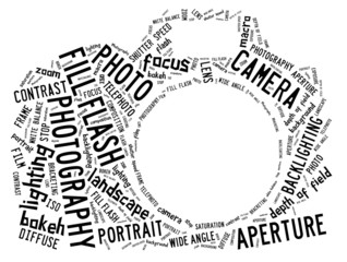 Word cloud showing words that deal with photography