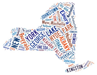 Word Cloud showing the cities in New York