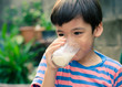 Littl boy drinking milk in the park vintage colo style - 80262898
