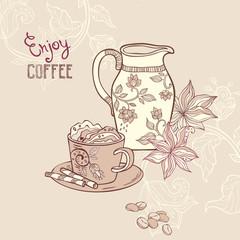 illustration with coffe cup and creamer