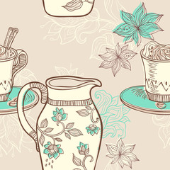 illustration with coffee cup and creamer. seamless pattern